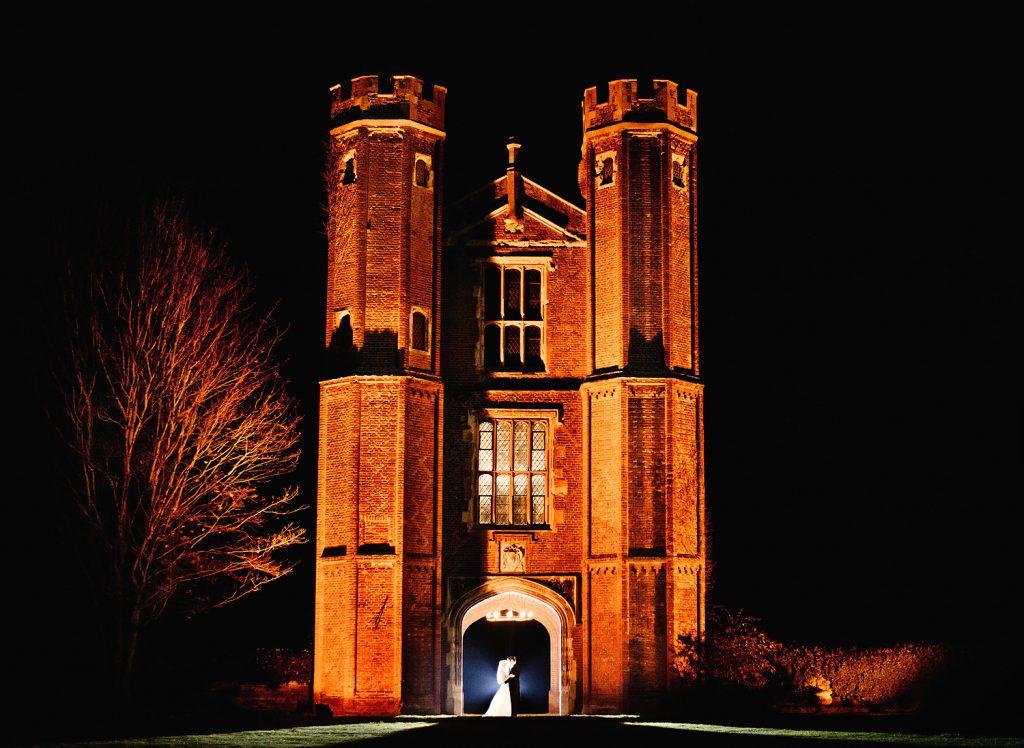 Leez Priory wedding venue at night taken by an Essex Wedding Photographer