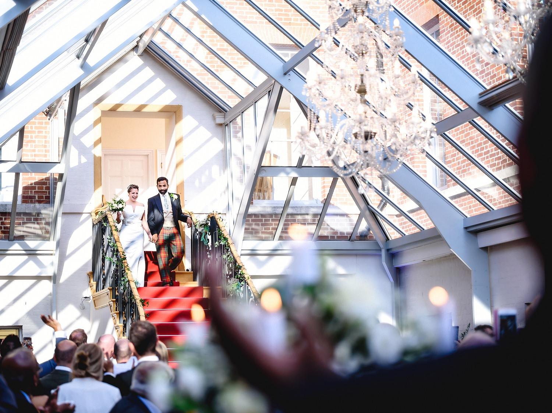 Bride and groom entrance at Botleys Mansion wedding venue