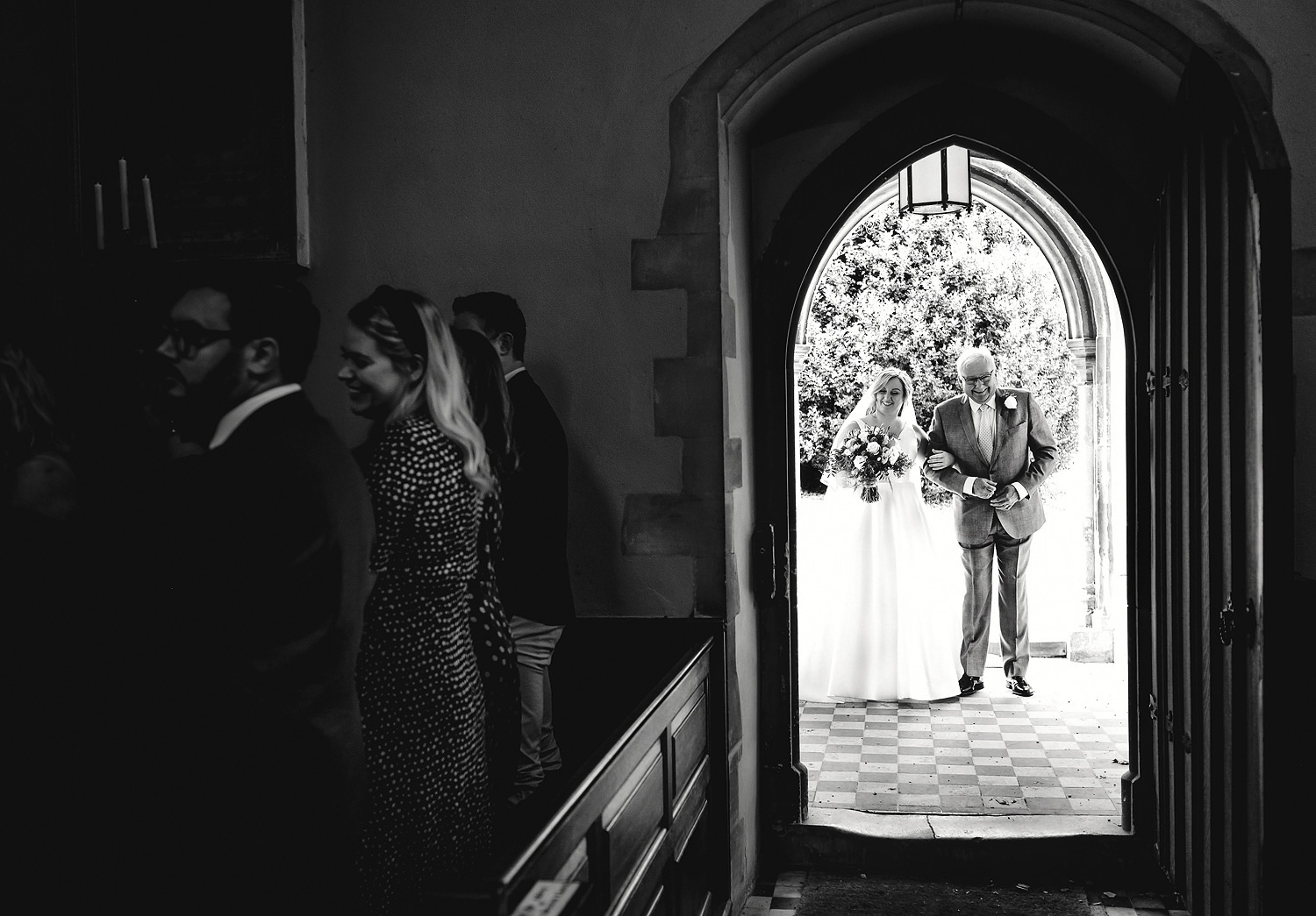 Father and bride portrait at church ceremony at Braxted Park wedding venue
