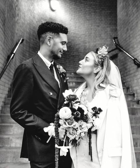 Bride and groom portrait at London wedding venue in the city
