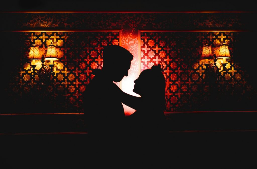 Creative portrait of bride and groom at The Victorian Bath House in Liverpool Street London
