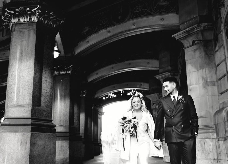 Bride and groom black and white portrait at London wedding venue in the city