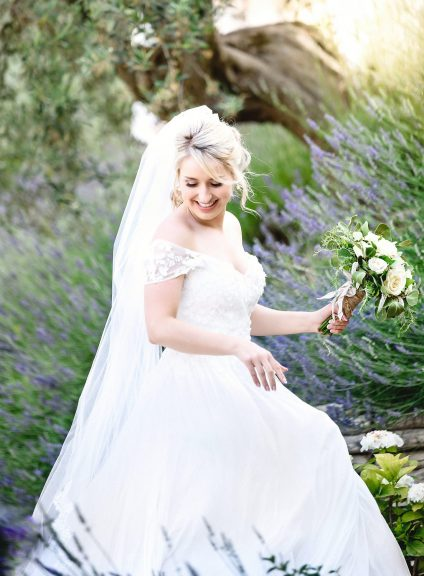 Bride portrait with bouquet at destination wedding in Italy