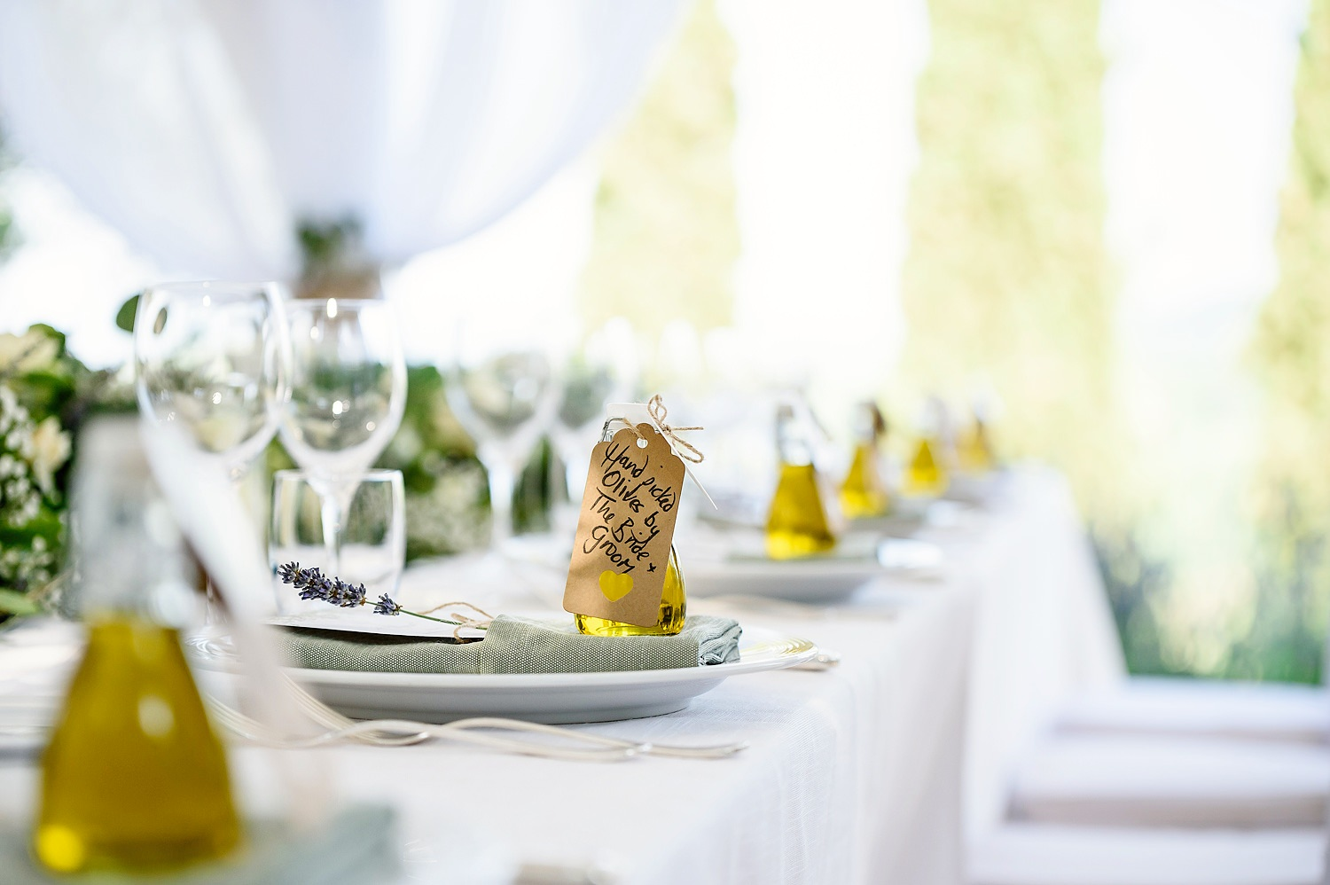 table favours at a wedding