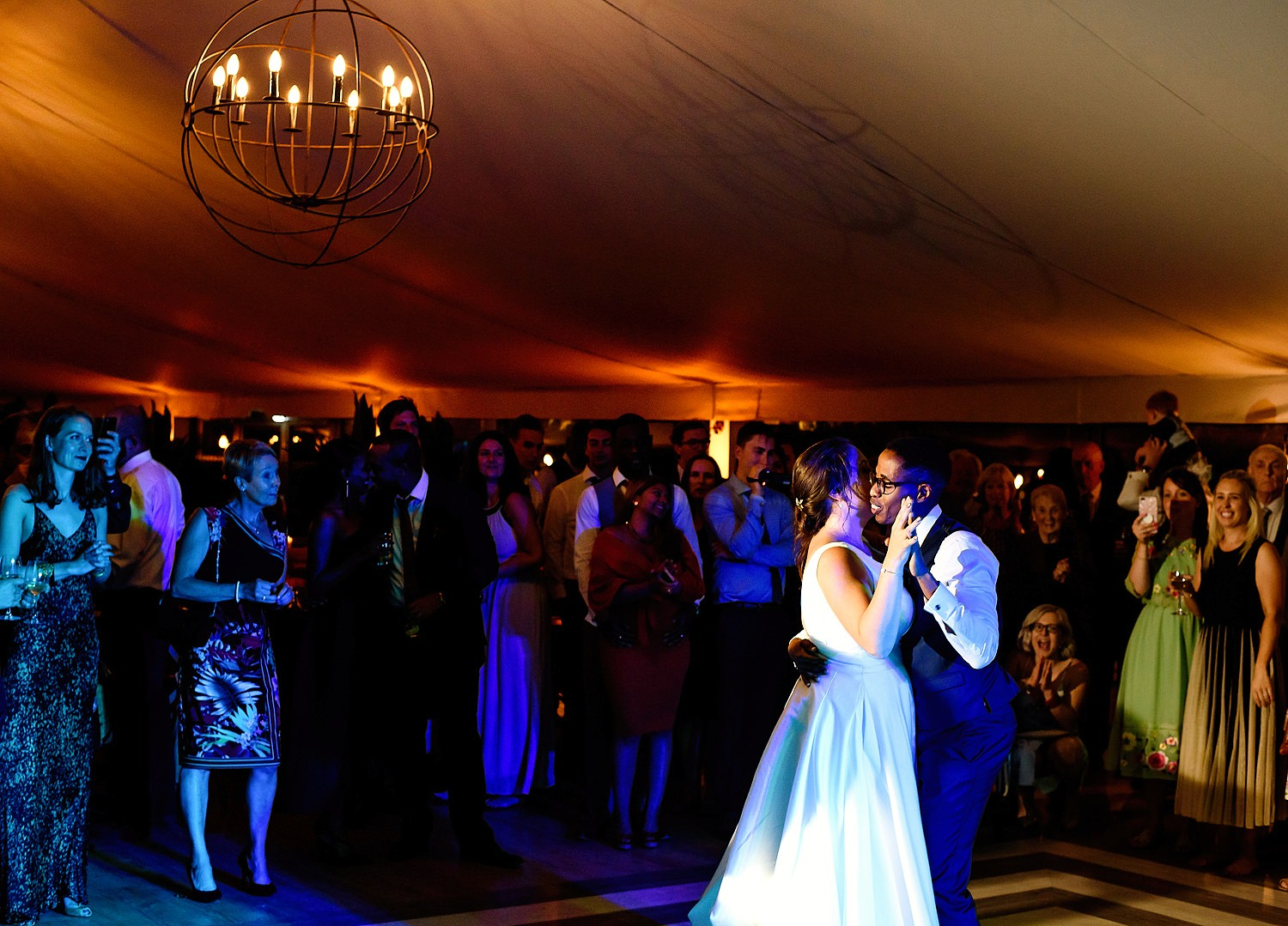 bride and groom first dance at pylewell park