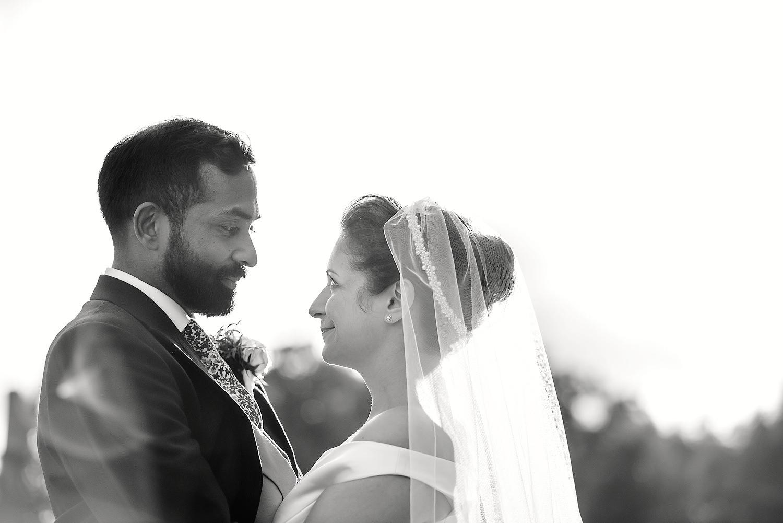 bride and groom portrait at botleys mansion