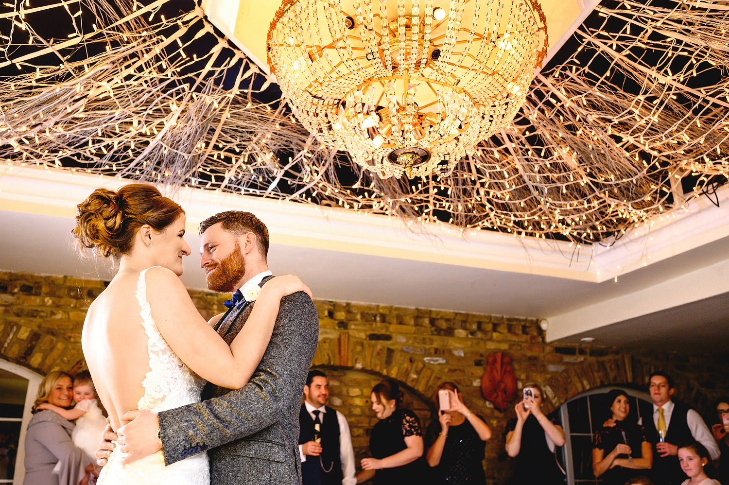 Bride and groom first dance at Friern Manor Wedding Venue in Brentwood