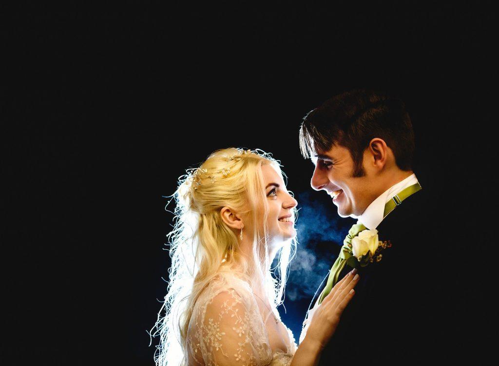 Bride and groom portrait at Leez Priory wedding venue in Essex