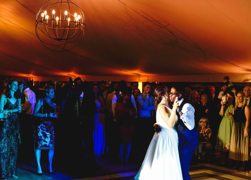 Bride and groom first dance at Pylewell Park wedding venue in Hampshire