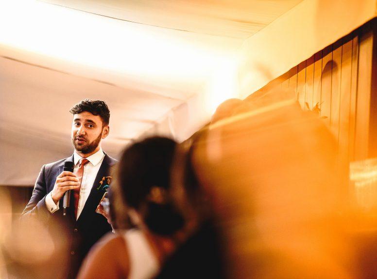 Best man's speech at Pylewell Park wedding venue during reception