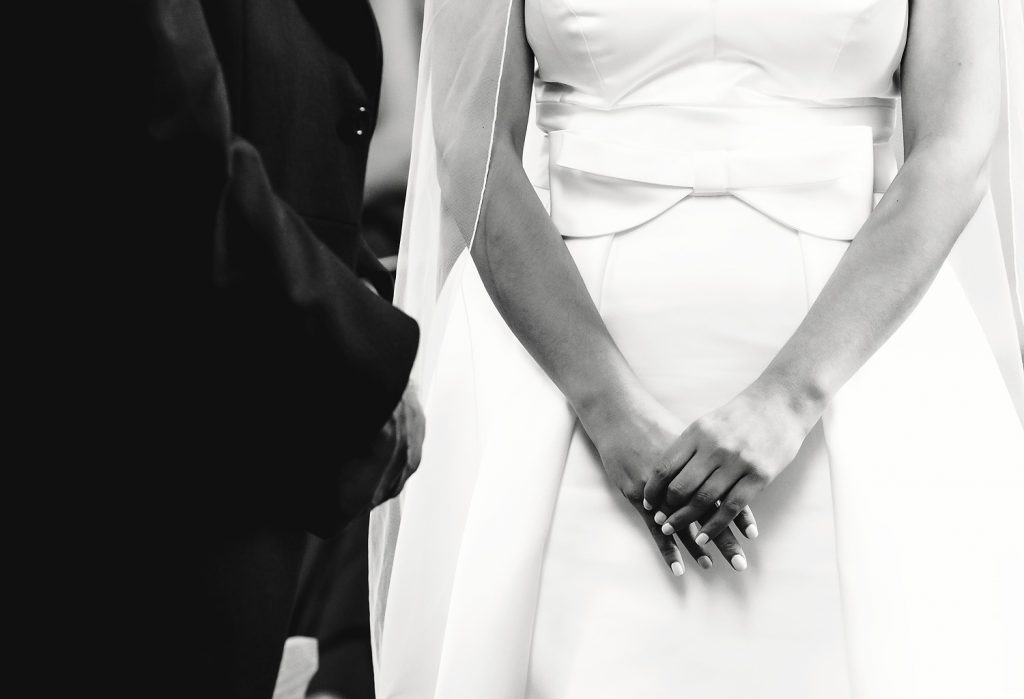 bride holding her hand
