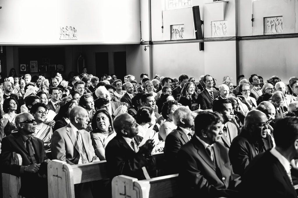 wedding guests sitting in church