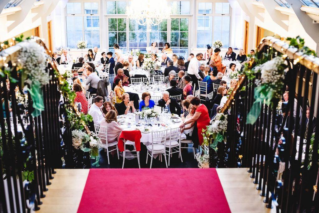 wedding guests sitting at botleys mansion