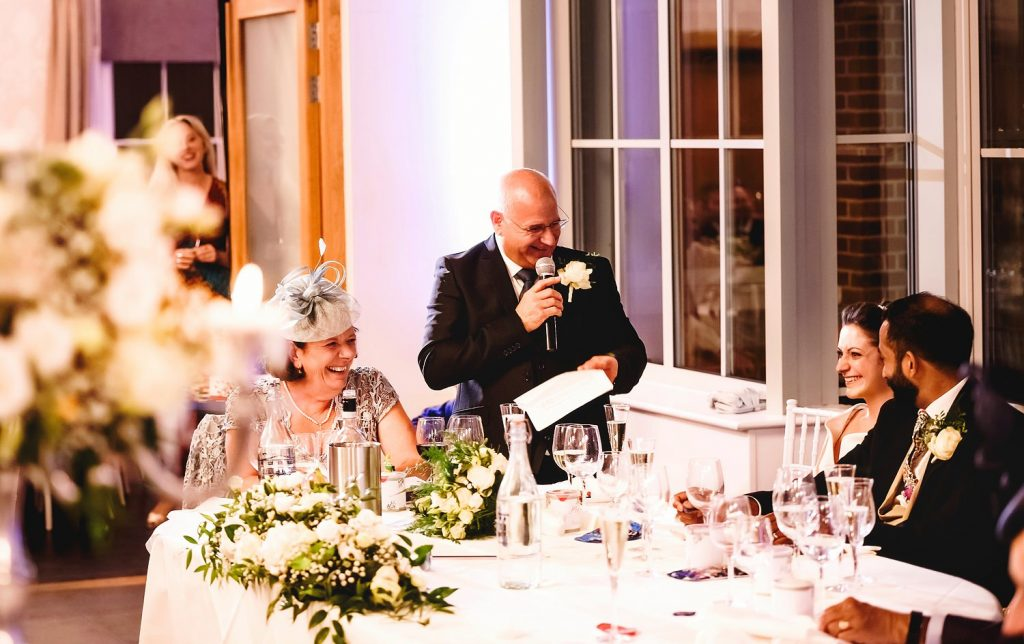 father of the bride making a speech at botleys mansion
