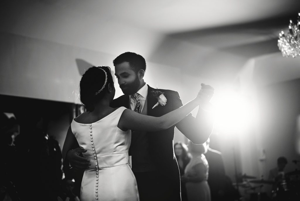 bride and groom first dance at botleys mansion