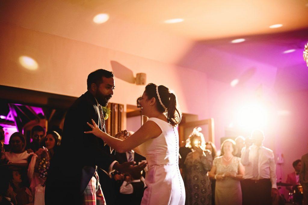 bride and groom first dance at surrey wedding venue